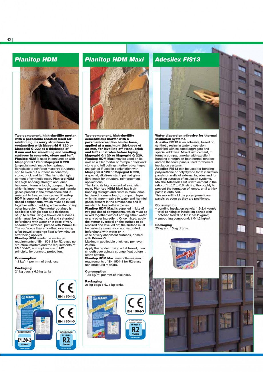 Pagina 44 - Mortare, materiale speciale MAPEI Catalog, brosura Engleza  water, in a maximum...