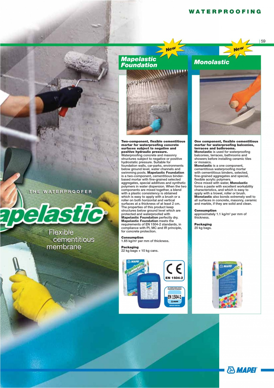 Pagina 61 - Mortare, materiale speciale MAPEI Catalog, brosura Engleza ickness. Packaging –...
