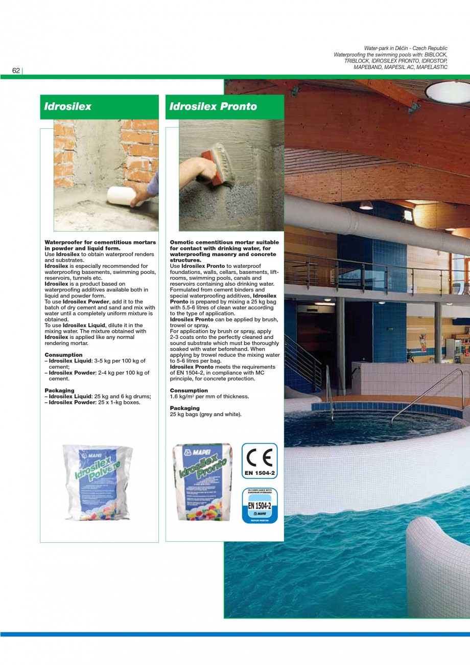 Pagina 64 - Mortare, materiale speciale MAPEI Catalog, brosura Engleza mortars and concrete. Use...