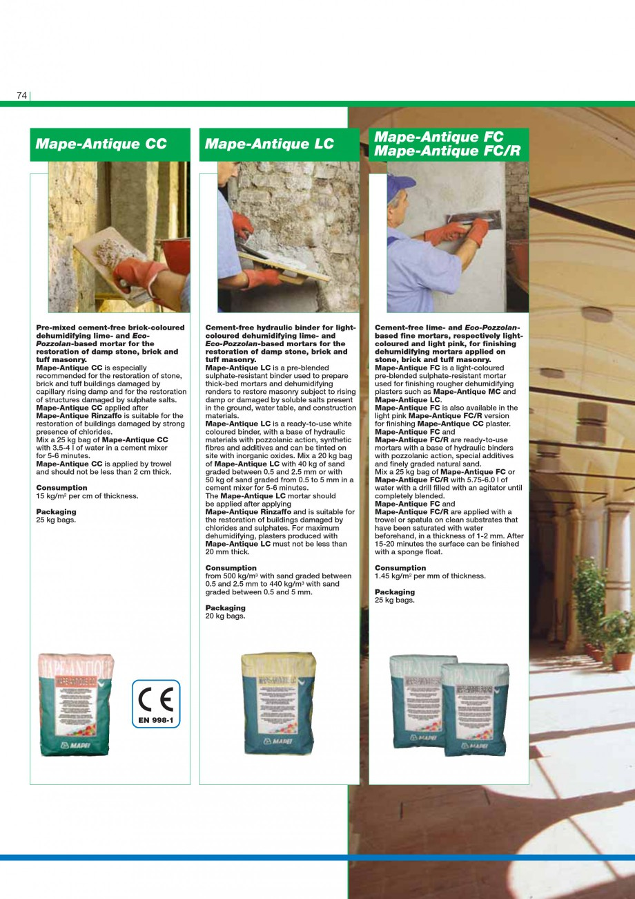Pagina 76 - Mortare, materiale speciale MAPEI Catalog, brosura Engleza on slurry: 1.6 kg/dm3 of...
