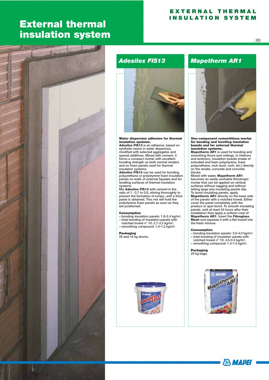 Pagina 85 - Mortare, materiale speciale MAPEI Catalog, brosura Engleza  pre-blended internal and...
