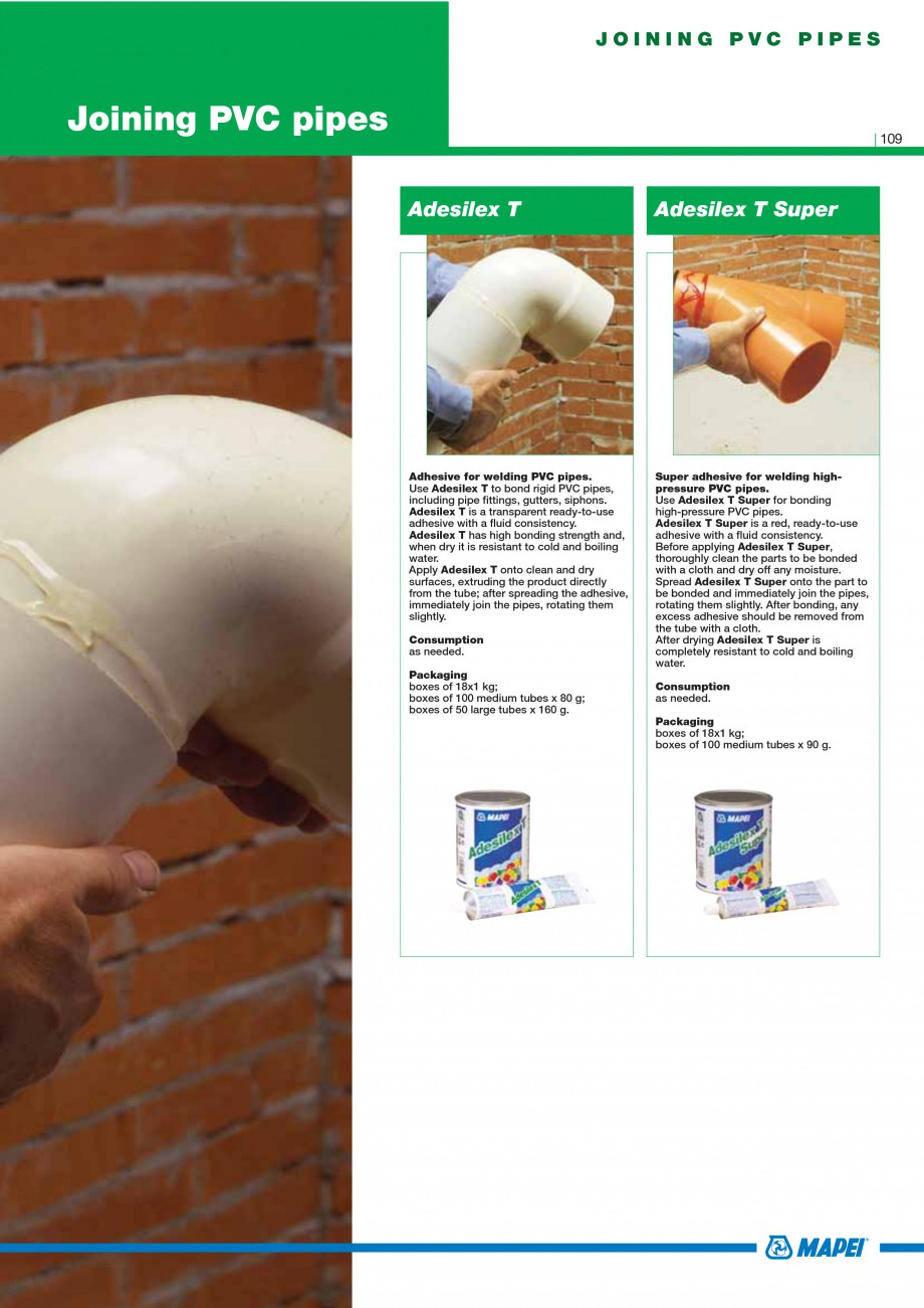 Pagina 111 - Mortare, materiale speciale MAPEI Catalog, brosura Engleza mption 1.6 kg/m2 per mm of...