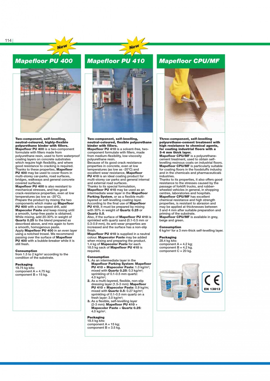 Pagina 116 - Mortare, materiale speciale MAPEI Catalog, brosura Engleza on the top of the package,...