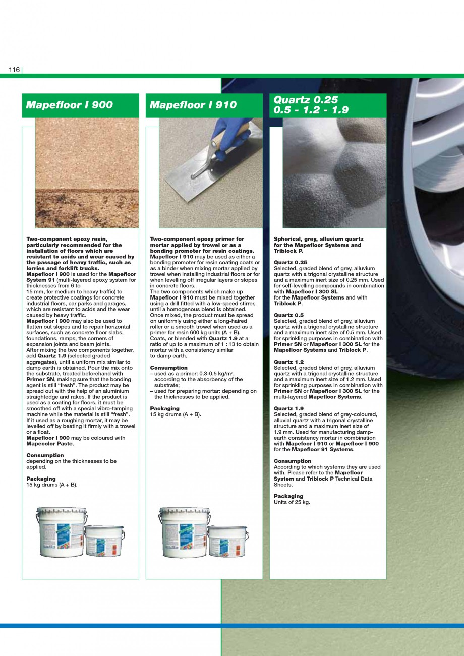 Pagina 118 - Mortare, materiale speciale MAPEI Catalog, brosura Engleza ble in 2 basic weights and...