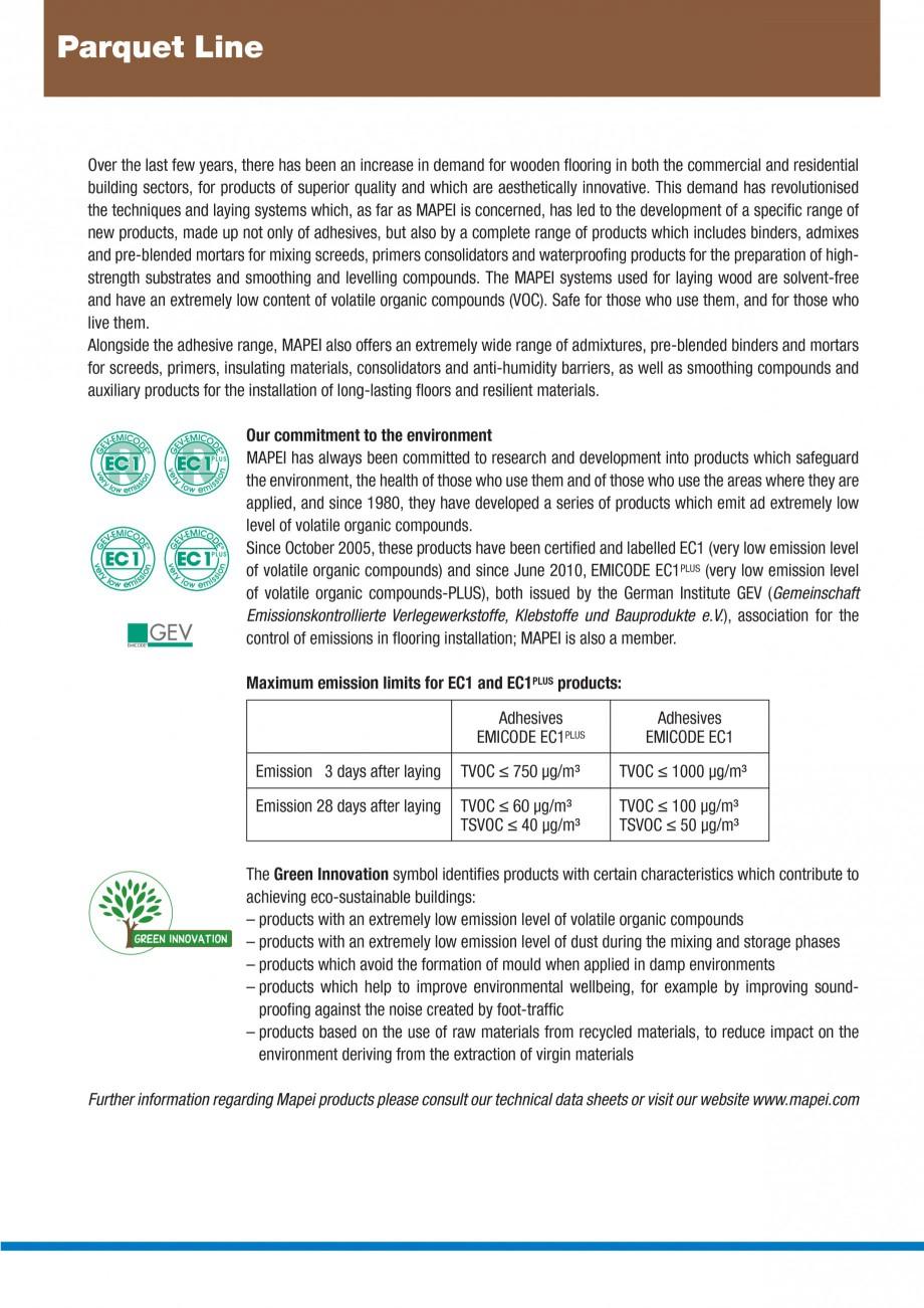 Pagina 2 - Materiale montaj, finisare si intretinere parchet 2011 MAPEI Catalog, brosura Engleza ,...
