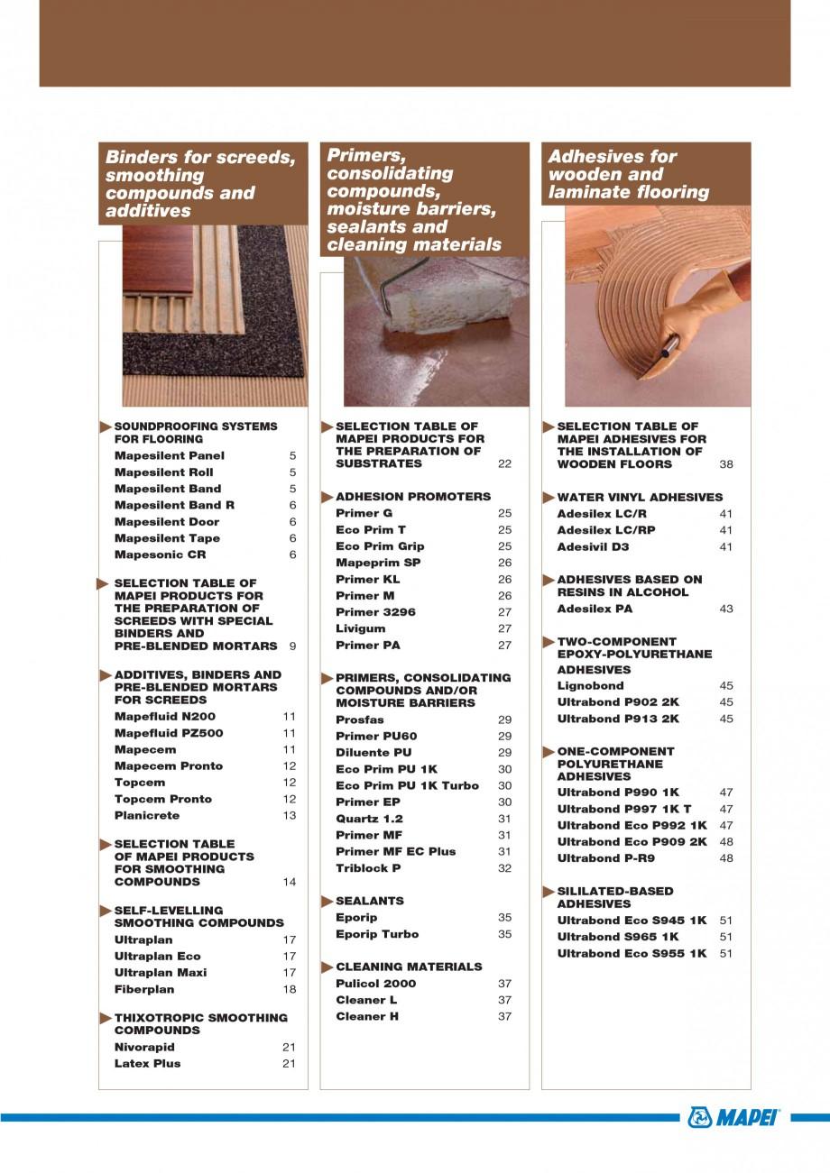 Pagina 3 - Materiale montaj, finisare si intretinere parchet 2011 MAPEI Catalog, brosura Engleza...