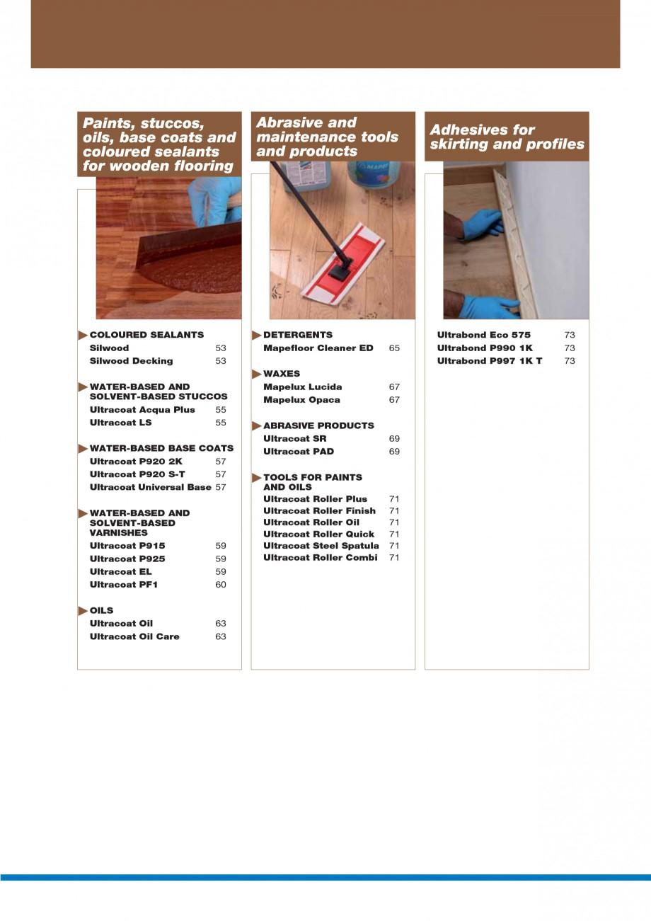 Pagina 4 - Materiale montaj, finisare si intretinere parchet 2011 MAPEI Catalog, brosura Engleza ...
