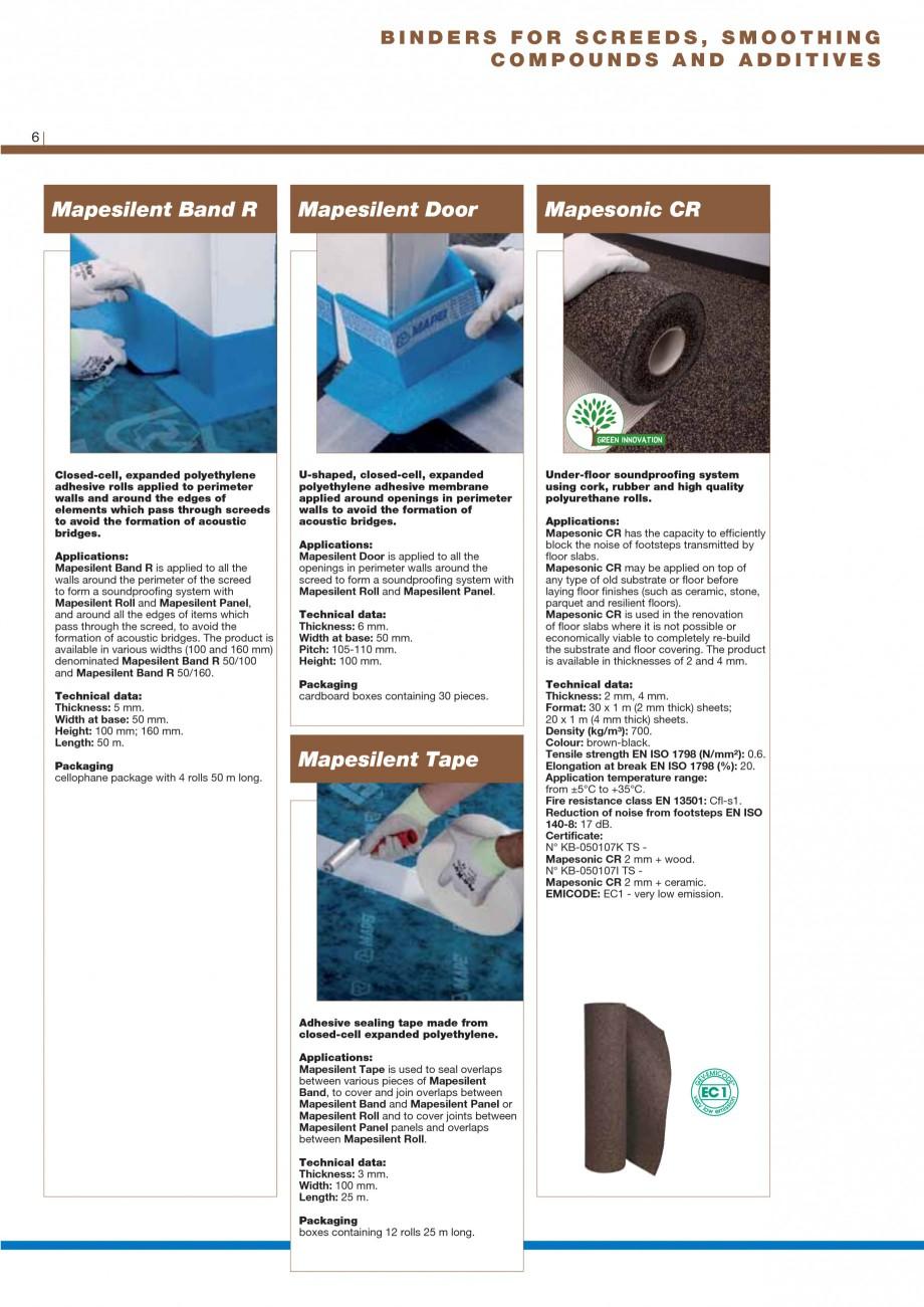 Pagina 8 - Materiale montaj, finisare si intretinere parchet 2011 MAPEI Catalog, brosura Engleza...