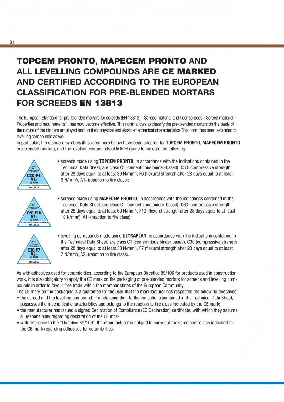 Pagina 10 - Materiale montaj, finisare si intretinere parchet 2011 MAPEI Catalog, brosura Engleza...