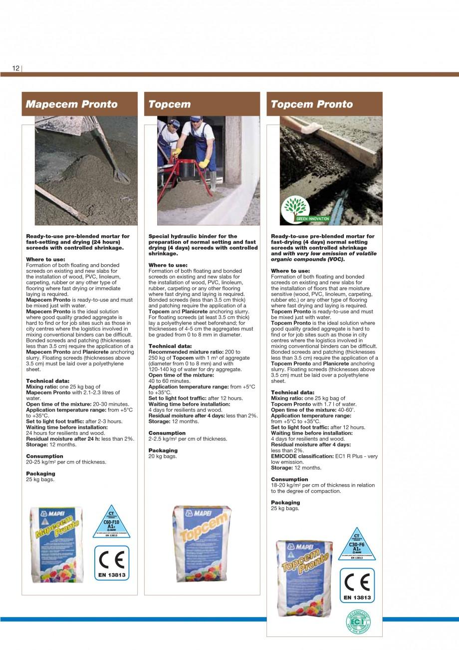 Pagina 14 - Materiale montaj, finisare si intretinere parchet 2011 MAPEI Catalog, brosura Engleza...