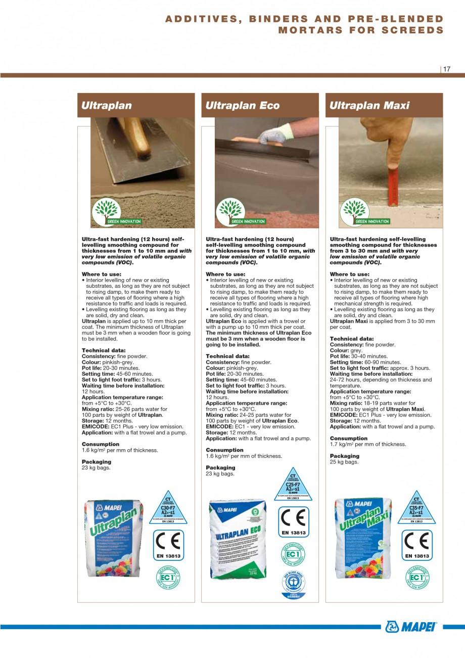 Pagina 19 - Materiale montaj, finisare si intretinere parchet 2011 MAPEI Catalog, brosura Engleza...