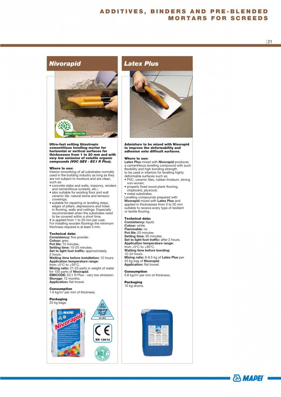 Pagina 23 - Materiale montaj, finisare si intretinere parchet 2011 MAPEI Catalog, brosura Engleza...