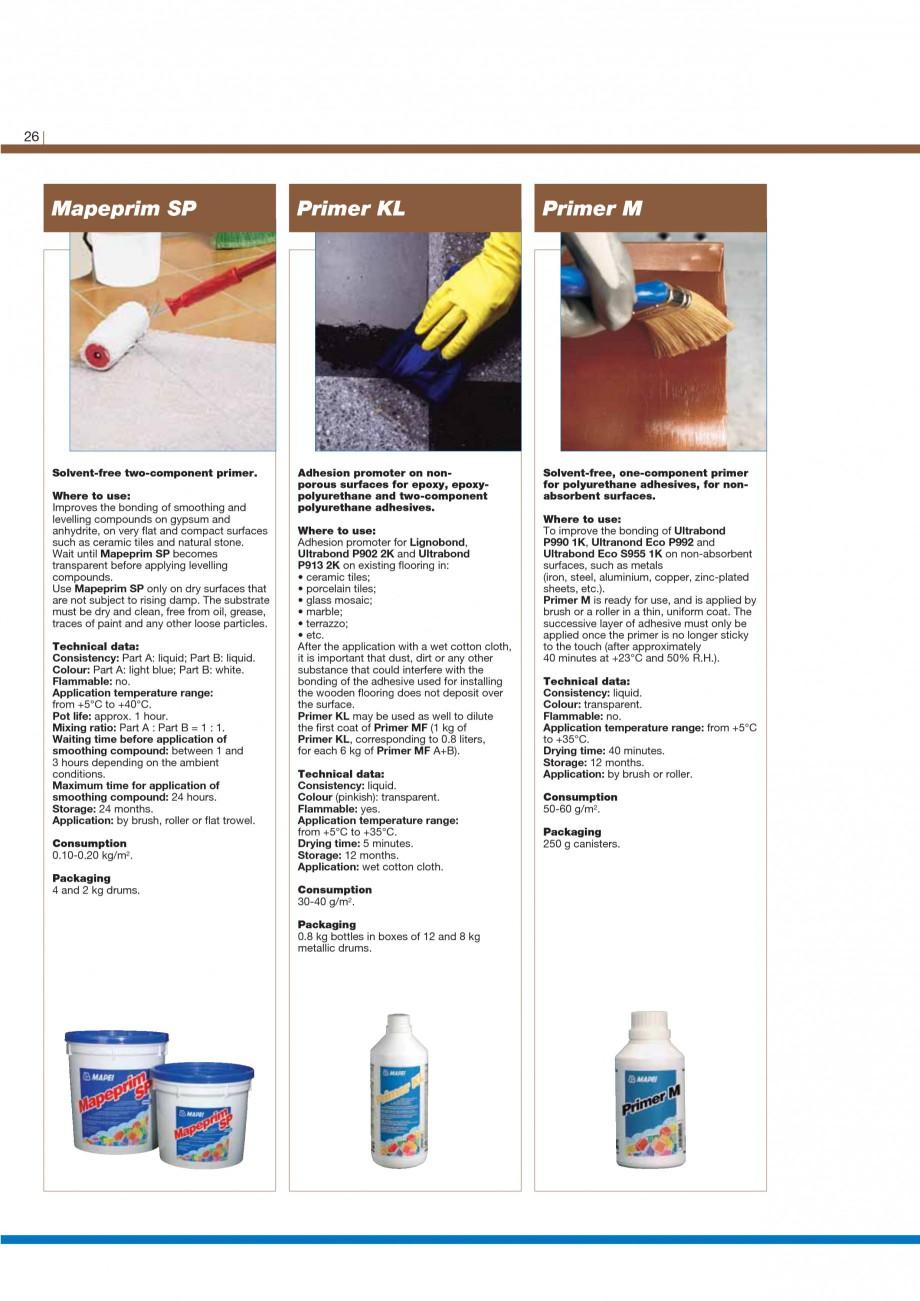 Pagina 28 - Materiale montaj, finisare si intretinere parchet 2011 MAPEI Catalog, brosura Engleza tc...