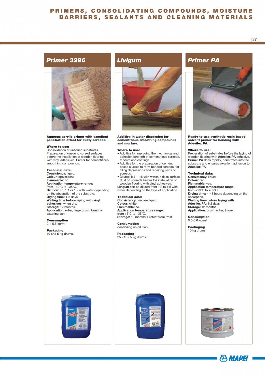 Pagina 29 - Materiale montaj, finisare si intretinere parchet 2011 MAPEI Catalog, brosura Engleza ...