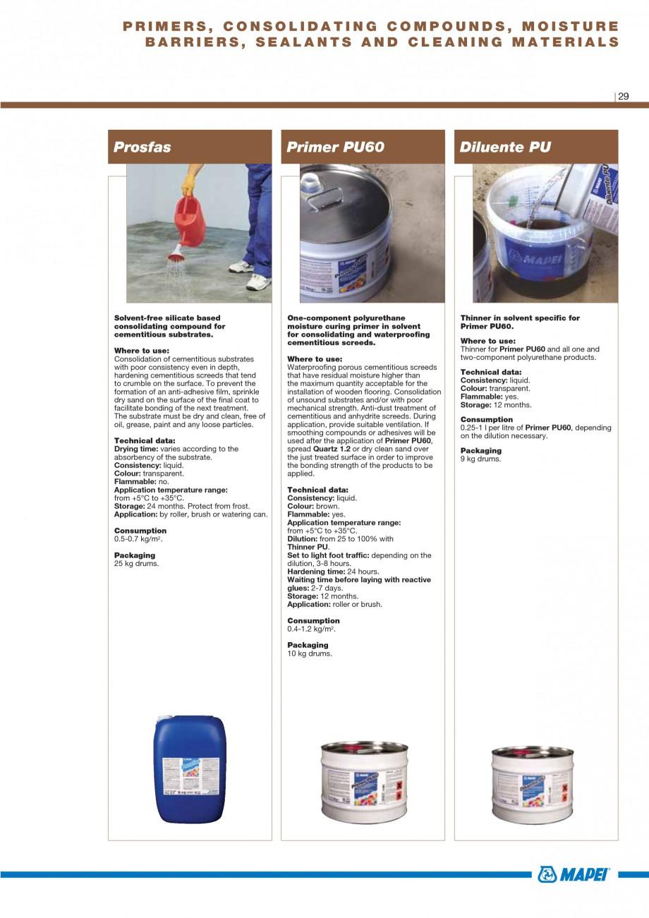 Pagina 31 - Materiale montaj, finisare si intretinere parchet 2011 MAPEI Catalog, brosura Engleza...