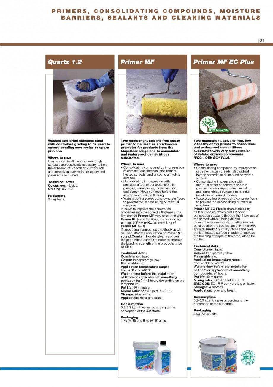 Pagina 33 - Materiale montaj, finisare si intretinere parchet 2011 MAPEI Catalog, brosura Engleza ...