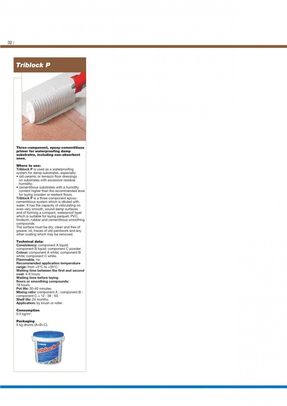 Pagina 34 - Materiale montaj, finisare si intretinere parchet 2011 MAPEI Catalog, brosura Engleza ...