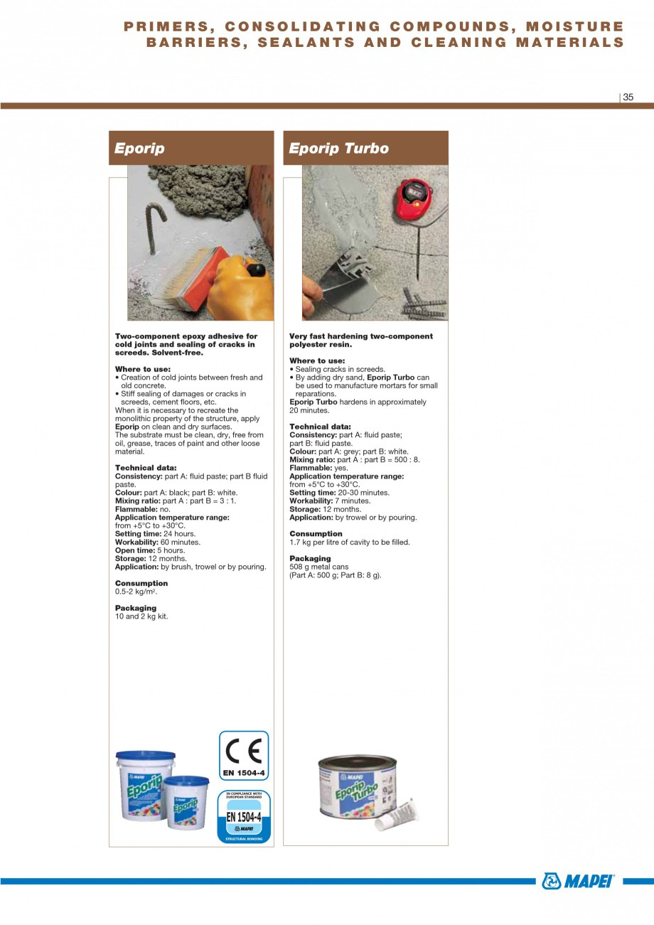 Pagina 37 - Materiale montaj, finisare si intretinere parchet 2011 MAPEI Catalog, brosura Engleza...