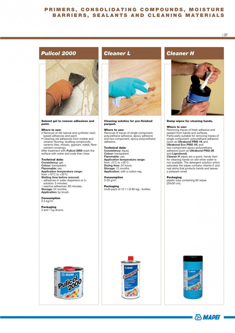 Pagina 39 - Materiale montaj, finisare si intretinere parchet 2011 MAPEI Catalog, brosura Engleza...