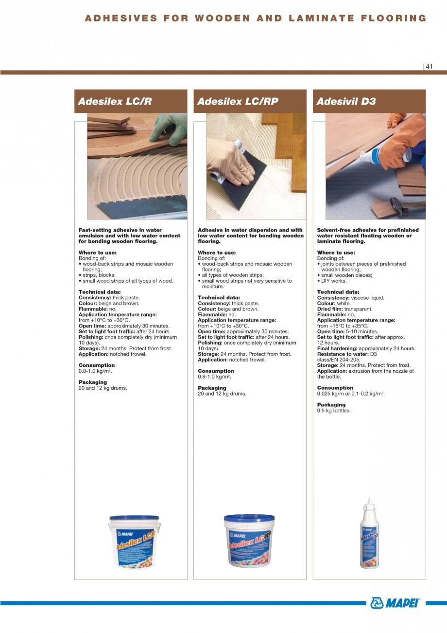 Pagina 43 - Materiale montaj, finisare si intretinere parchet 2011 MAPEI Catalog, brosura Engleza ...