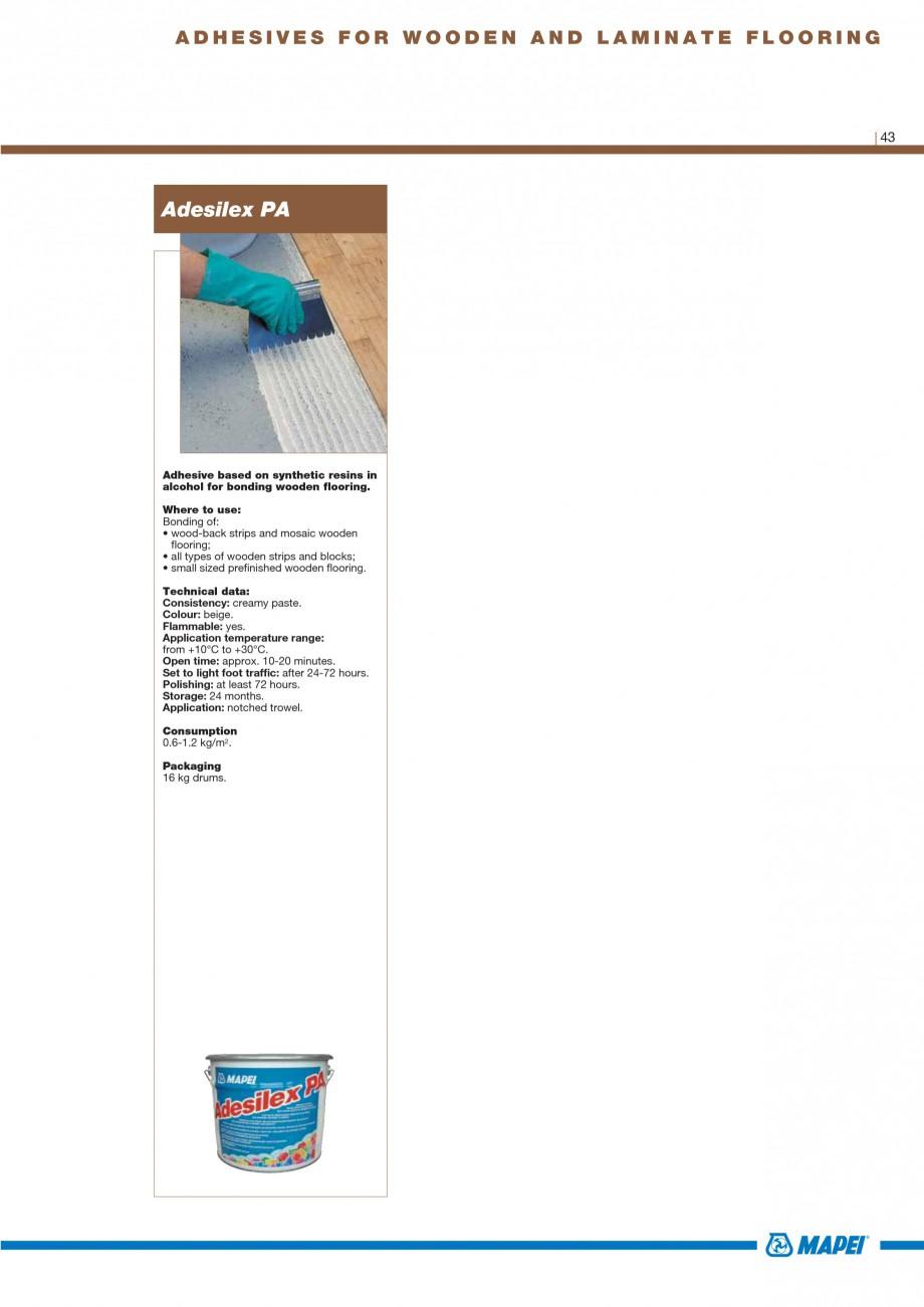 Pagina 45 - Materiale montaj, finisare si intretinere parchet 2011 MAPEI Catalog, brosura Engleza n ...