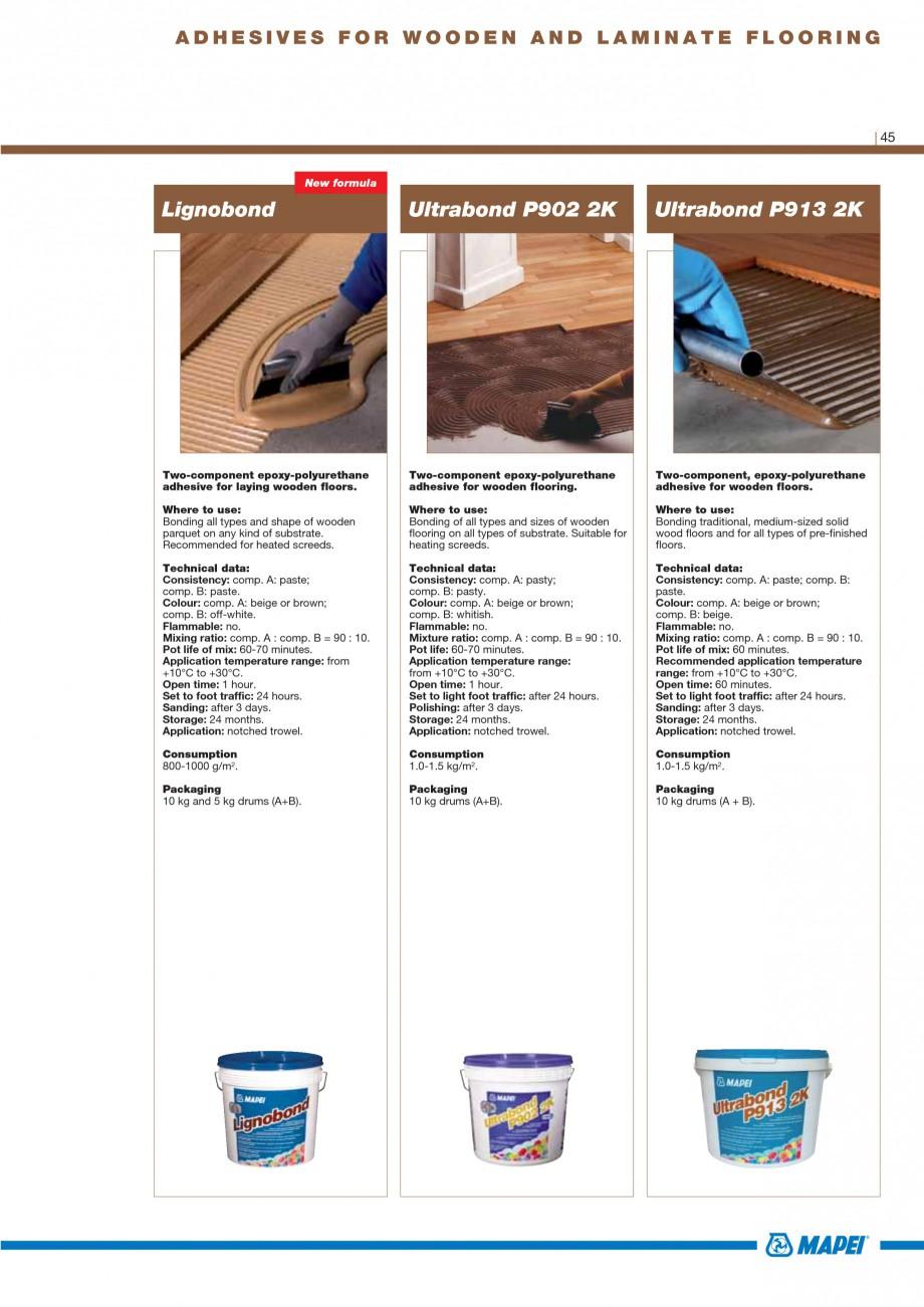 Pagina 47 - Materiale montaj, finisare si intretinere parchet 2011 MAPEI Catalog, brosura Engleza ...