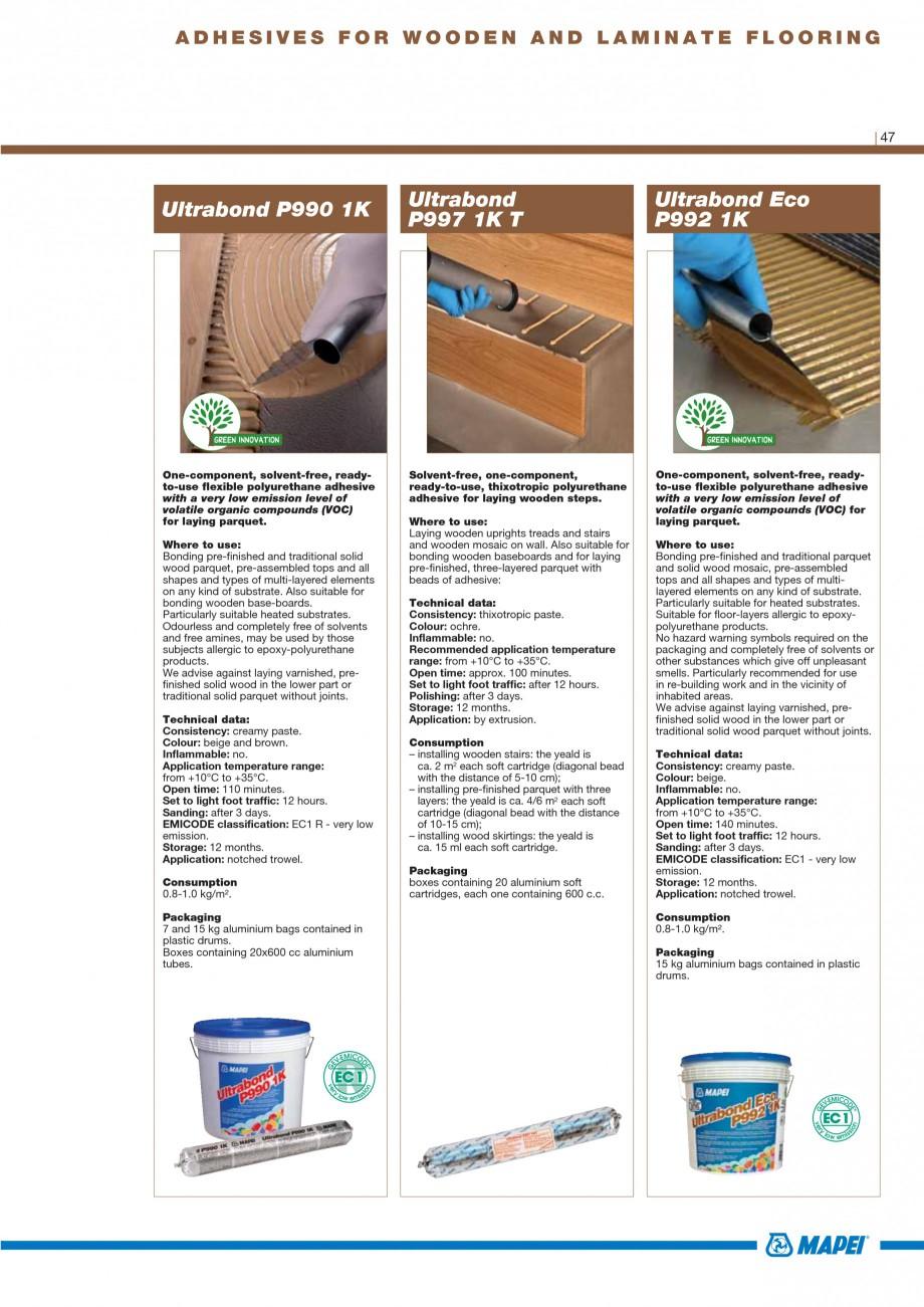 Pagina 49 - Materiale montaj, finisare si intretinere parchet 2011 MAPEI Catalog, brosura Engleza...