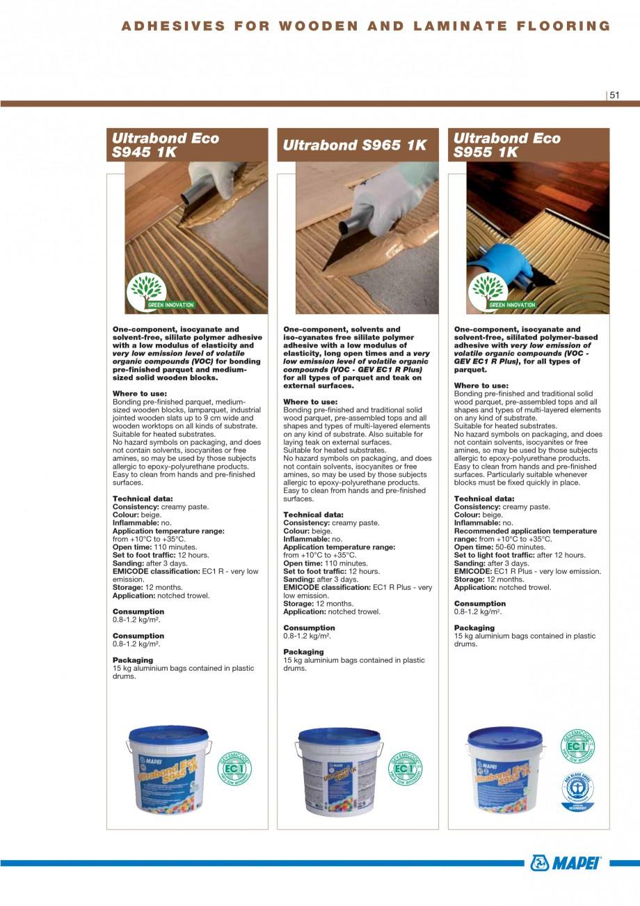 Pagina 53 - Materiale montaj, finisare si intretinere parchet 2011 MAPEI Catalog, brosura Engleza...