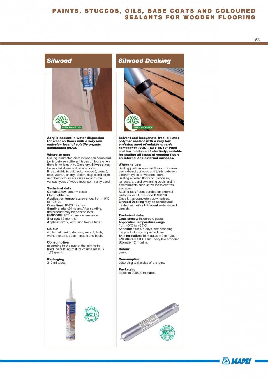 Pagina 55 - Materiale montaj, finisare si intretinere parchet 2011 MAPEI Catalog, brosura Engleza...