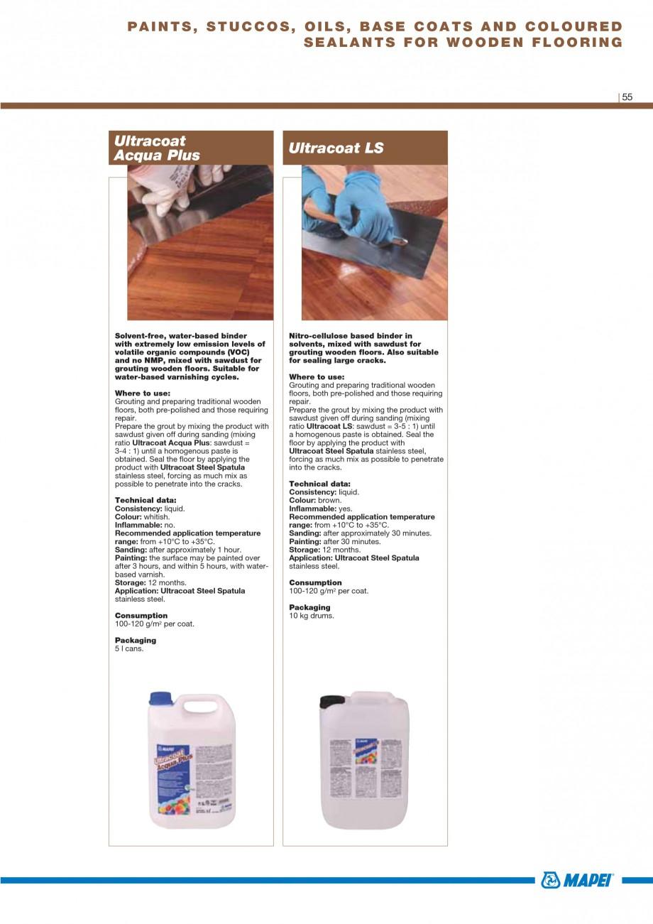Pagina 57 - Materiale montaj, finisare si intretinere parchet 2011 MAPEI Catalog, brosura Engleza...