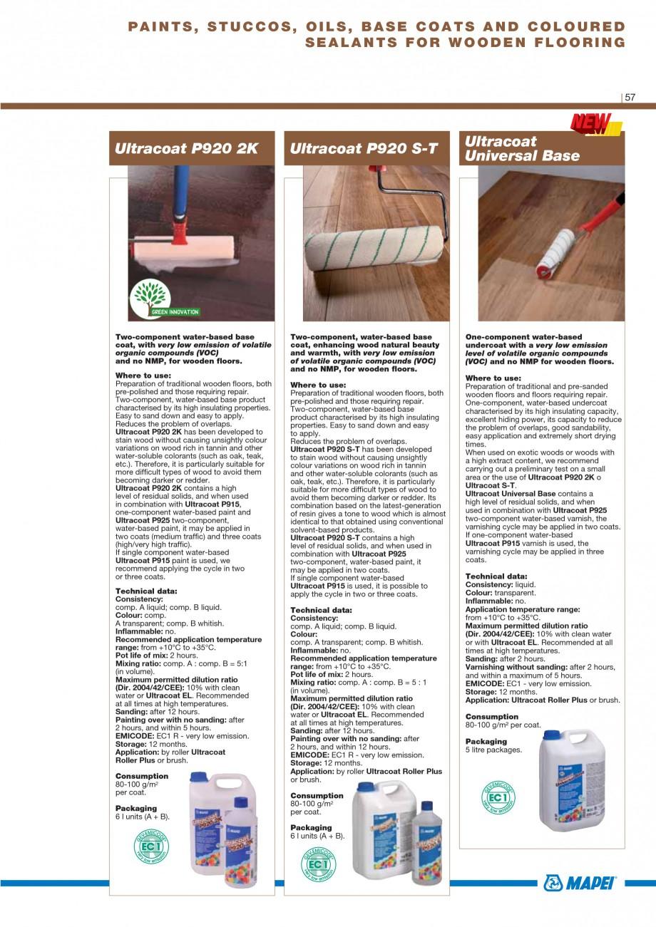 Pagina 59 - Materiale montaj, finisare si intretinere parchet 2011 MAPEI Catalog, brosura Engleza...