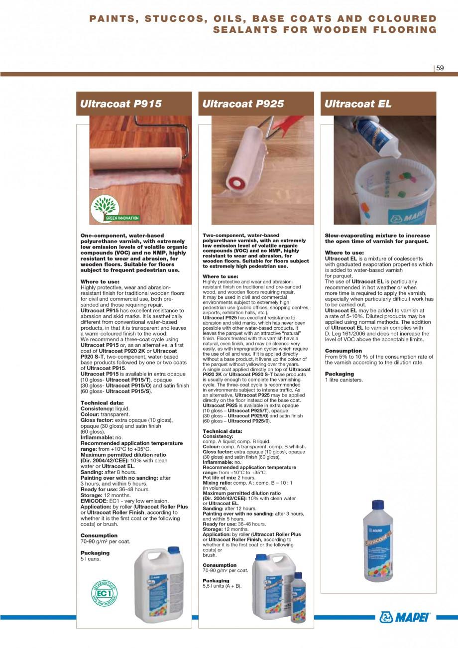 Pagina 61 - Materiale montaj, finisare si intretinere parchet 2011 MAPEI Catalog, brosura Engleza by...