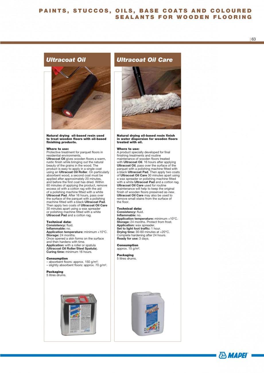 Pagina 65 - Materiale montaj, finisare si intretinere parchet 2011 MAPEI Catalog, brosura Engleza...