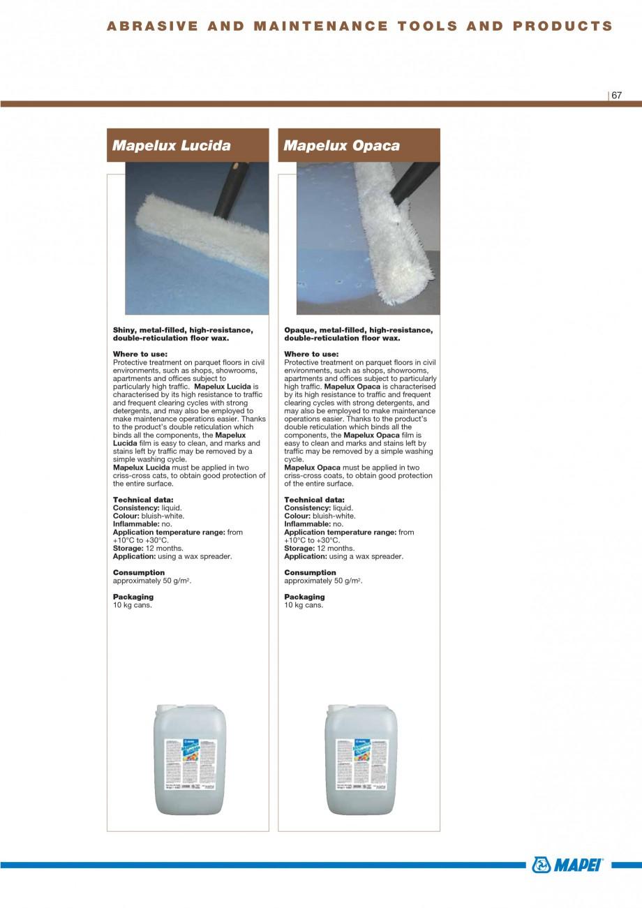 Pagina 69 - Materiale montaj, finisare si intretinere parchet 2011 MAPEI Catalog, brosura Engleza o ...
