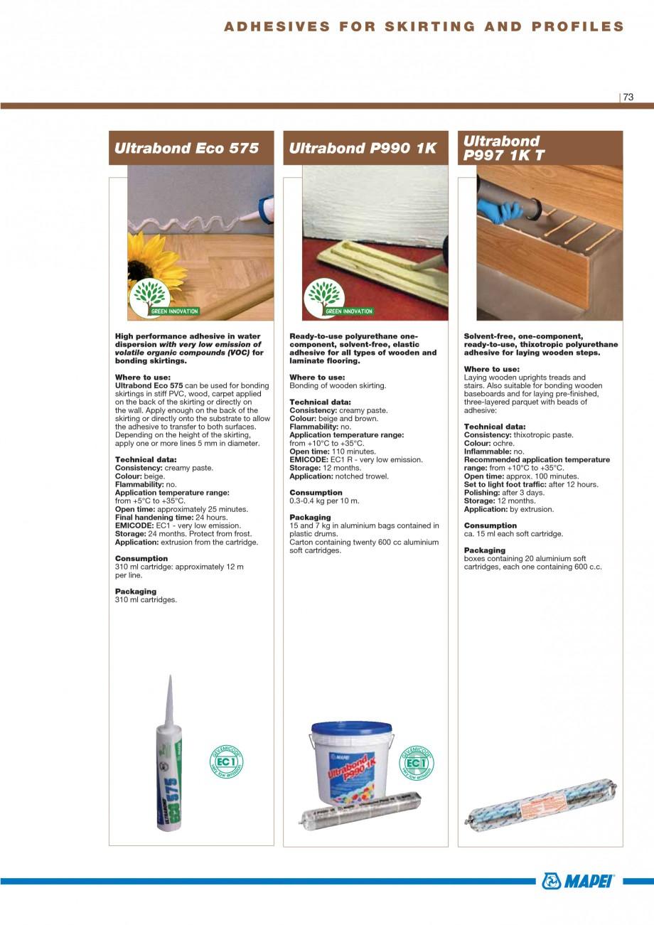 Pagina 75 - Materiale montaj, finisare si intretinere parchet 2011 MAPEI Catalog, brosura Engleza e ...