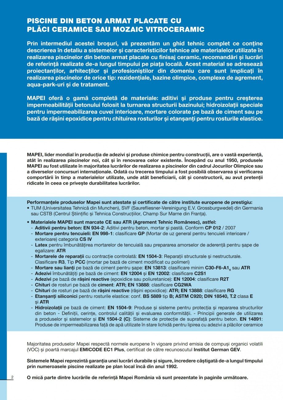 Pagina 2 - Ghid constructia piscinelor din beton armat MAPEI KERABOND T-R Catalog, brosura Romana...
