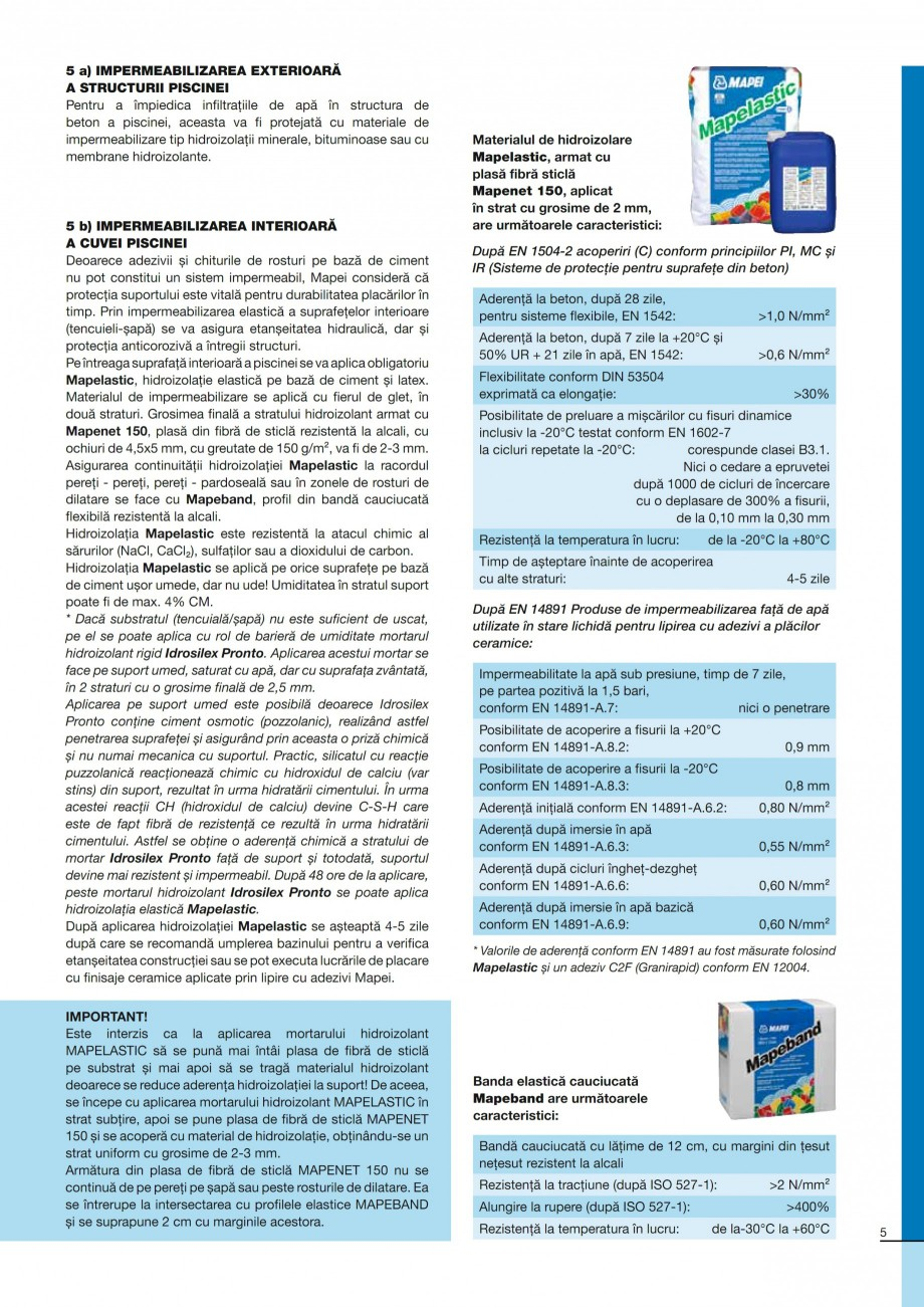 Pagina 5 - Ghid constructia piscinelor din beton armat MAPEI KERABOND T-R Catalog, brosura Romana ri...