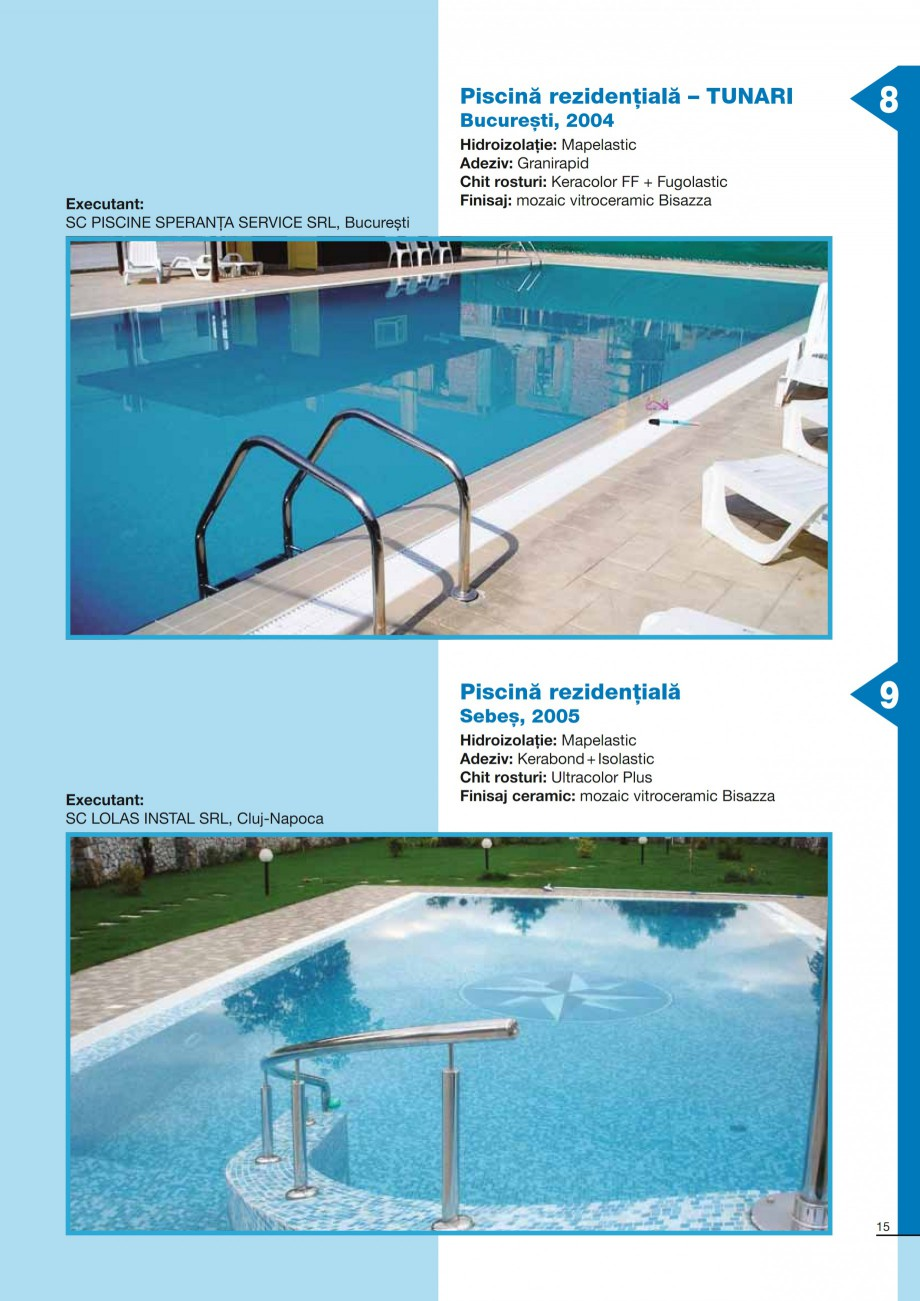 Pagina 15 - Ghid constructia piscinelor din beton armat MAPEI KERABOND T-R Catalog, brosura Romana  ...