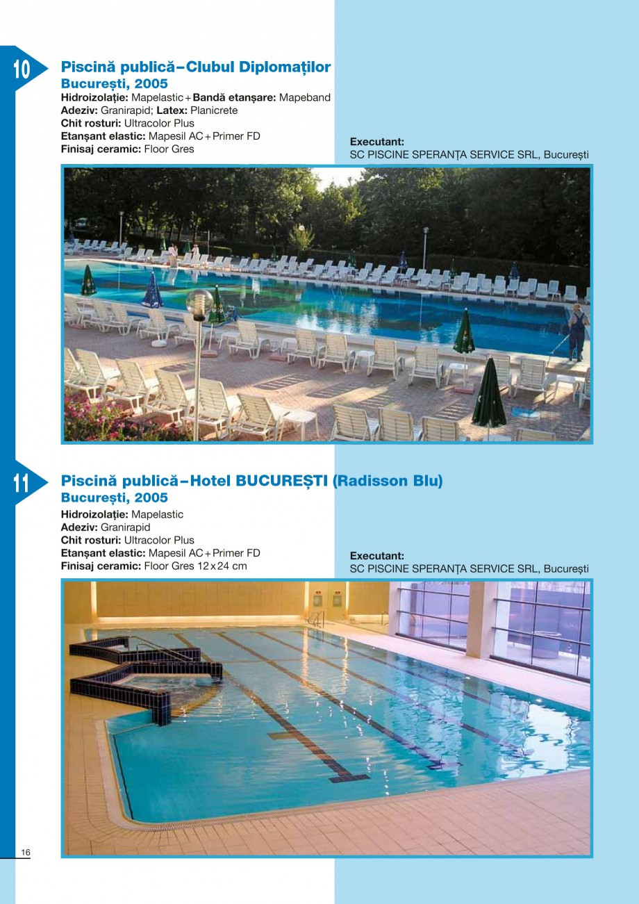 Pagina 16 - Ghid constructia piscinelor din beton armat MAPEI KERABOND T-R Catalog, brosura Romana �...