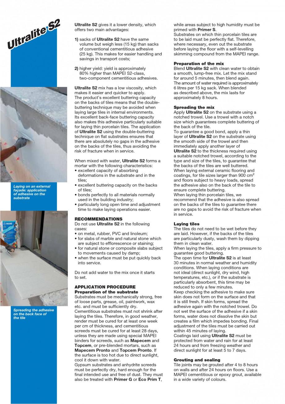 Pagina 2 - Adeziv special pentru montajul placilor mari si a placilor subtiri de gresie portelanata ...