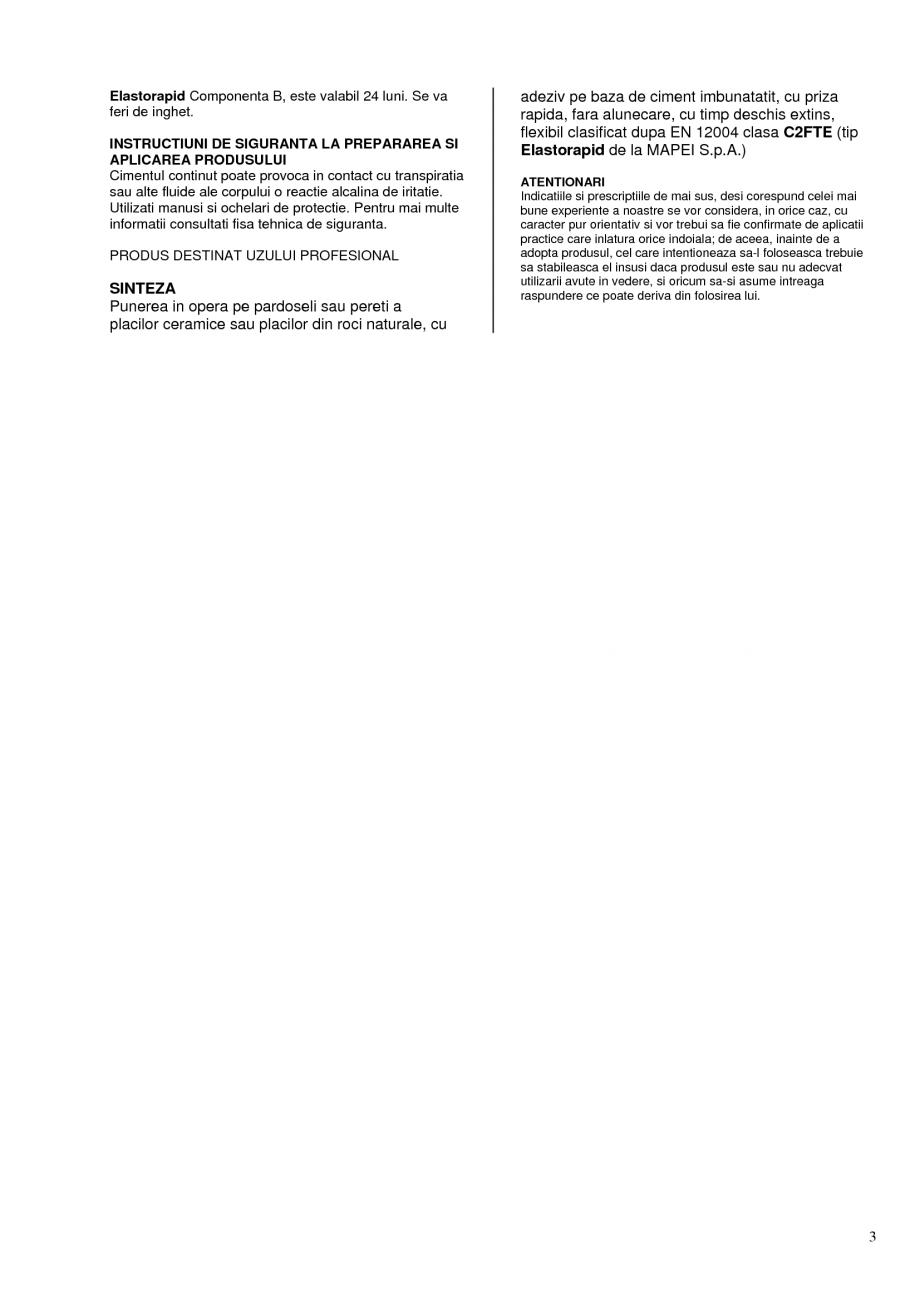 Pagina 3 - Adeziv bicomponent pe baza de ciment, pentru placi ceramice si placi din roci naturale...