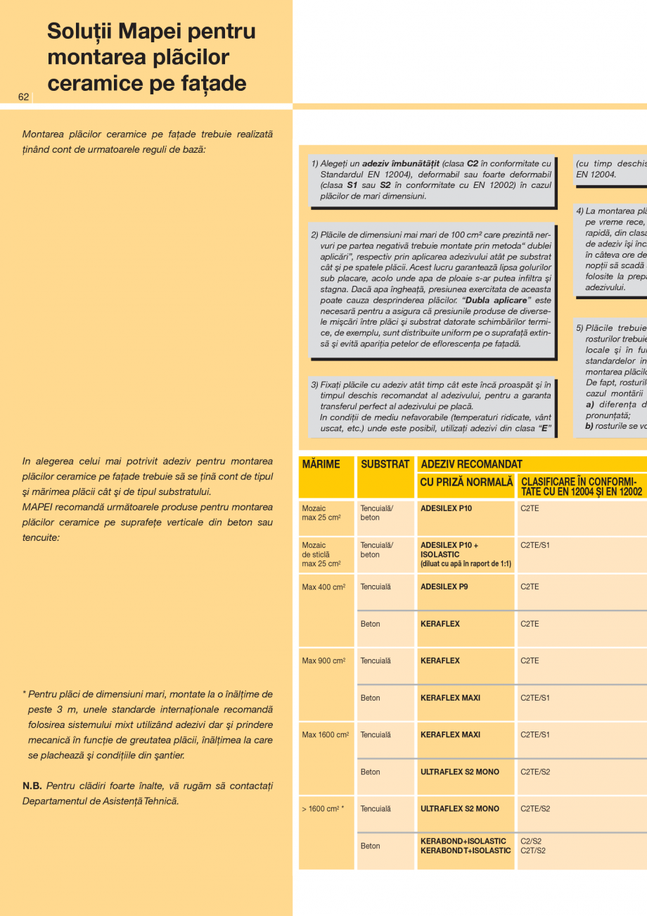 Pagina 1 - Solutii pentru montarea placilor ceramice pe fatade MAPEI ELASTORAPID, KERAQUICK...