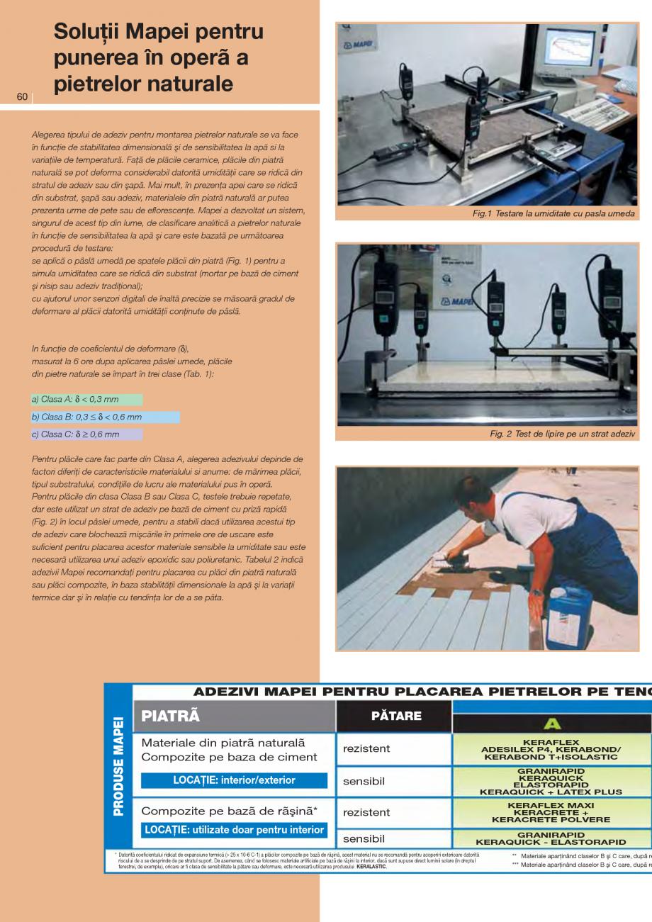 Pagina 1 - Solutii pentru punerea in opera a pietrelor naturale MAPEI ELASTORAPID, KERAQUICK...