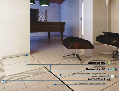 Prezentare produs Adeziv special pentru montajul placilor subtiri de gresie portelanta  MAPEI - Poza 4
