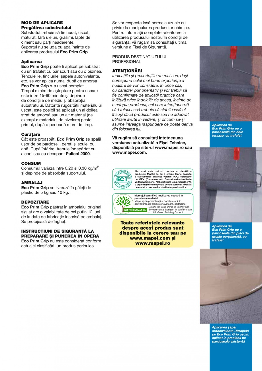Pagina 3 - Primer promotor universal de aderenta MAPEI ECO PRIM GRIP Fisa tehnica Romana  aderenţă...