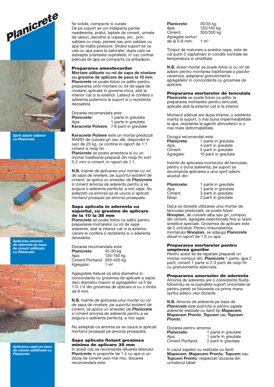 Pagina 2 - Latex din cauciuc sintetic pentru amestecuri pe baza de ciment MAPEI PLANICRETE Fisa...