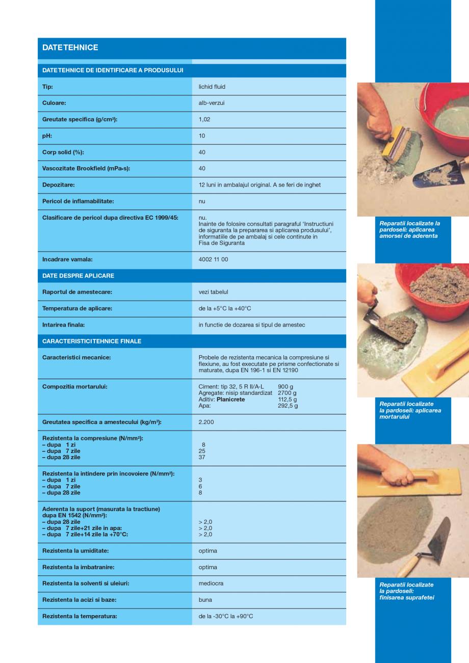 Pagina 3 - Latex din cauciuc sintetic pentru amestecuri pe baza de ciment MAPEI PLANICRETE Fisa...