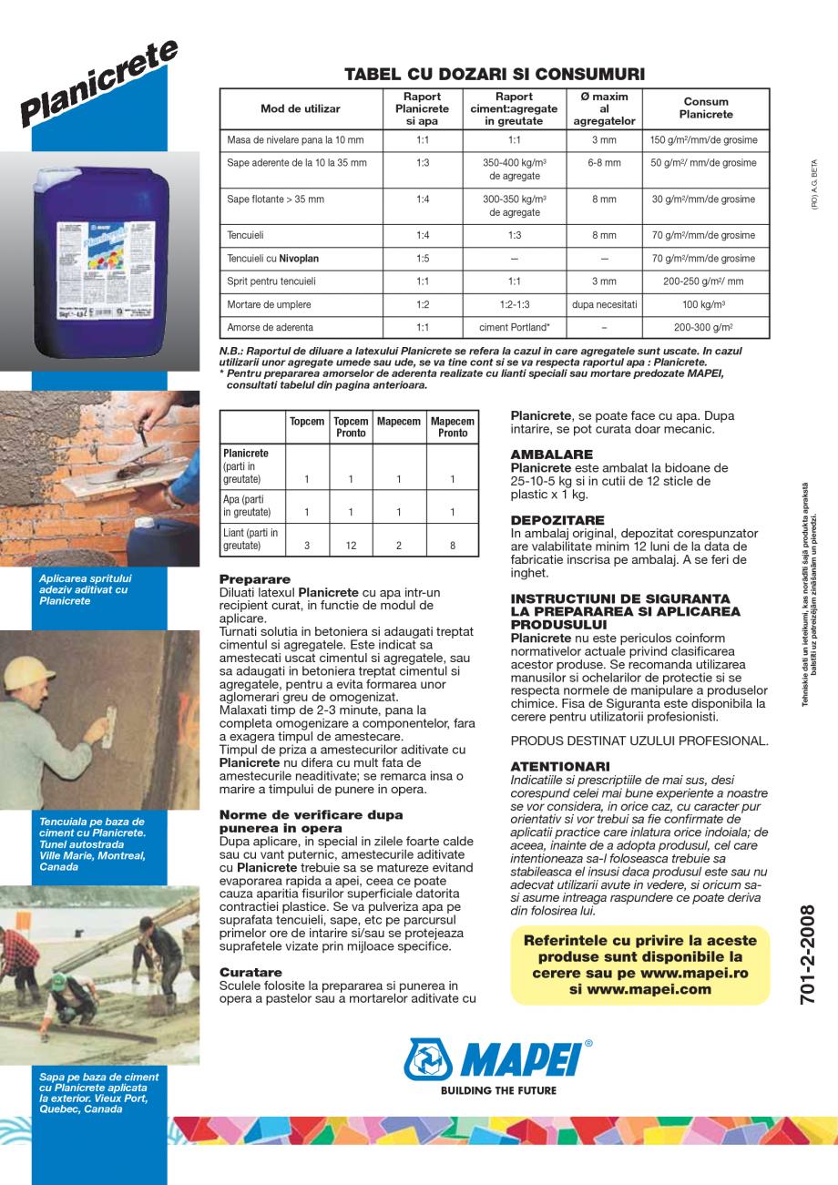 Pagina 4 - Latex din cauciuc sintetic pentru amestecuri pe baza de ciment MAPEI PLANICRETE Fisa...