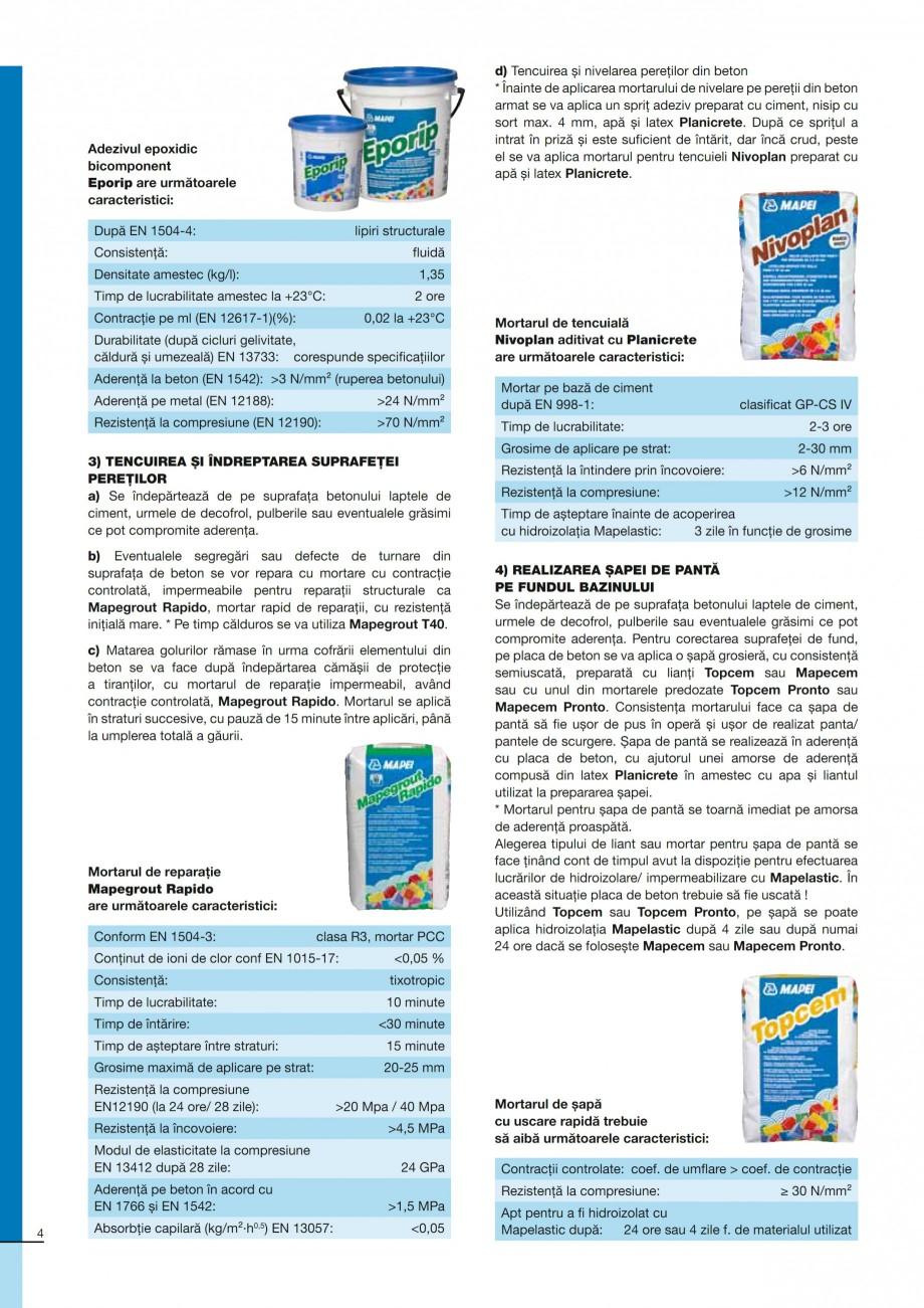 Pagina 4 - Ghid constructia piscinelor din beton armat MAPEI Catalog, brosura Romana bază de...