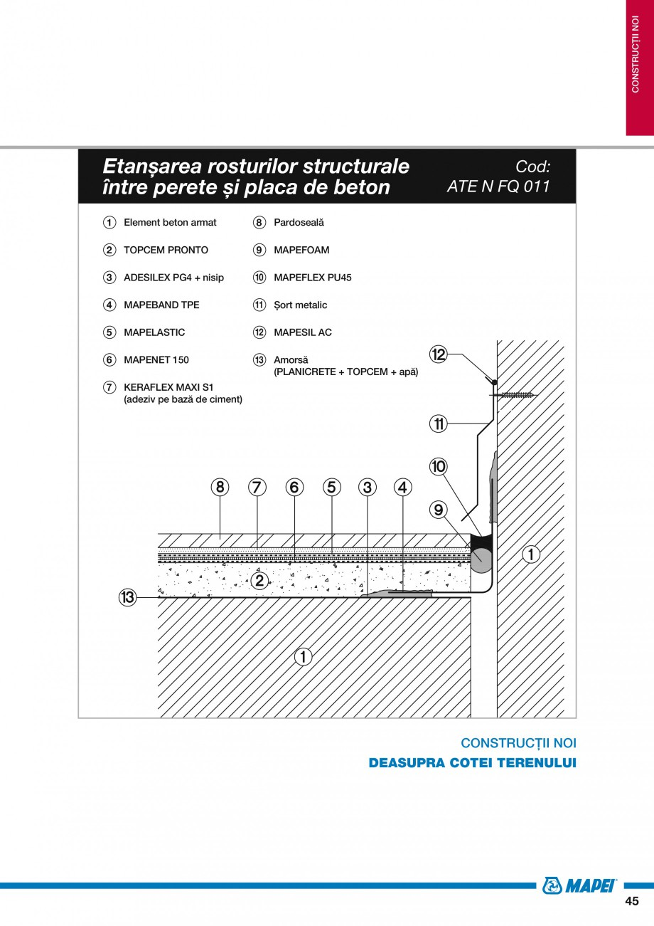 Pagina 47 - Ghid proiectare impermeabilizari solutii  MAPEI Catalog, brosura Romana